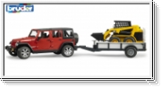 JEEP Wrangler Unlimited Rubicon with one axle trailer and Cat skid steer loader